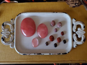 Red Stone And Glass Mix Cabochon Lot