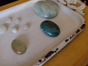 Green Stone Mix Cabochon Lot