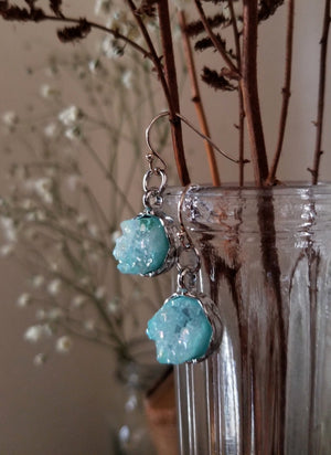 Round aqua aura earrings with silver plated base and sterling silver ear wires