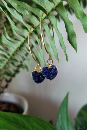 Blue Druzy Heart Earrings