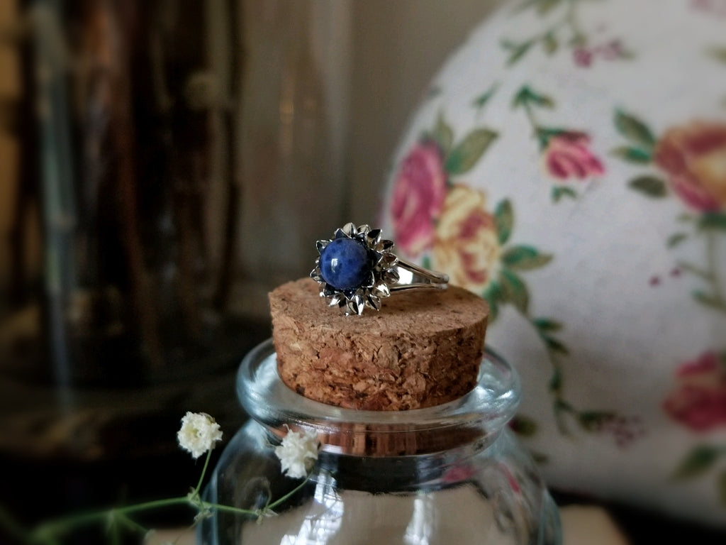 Blue Sodalite Flower Ring