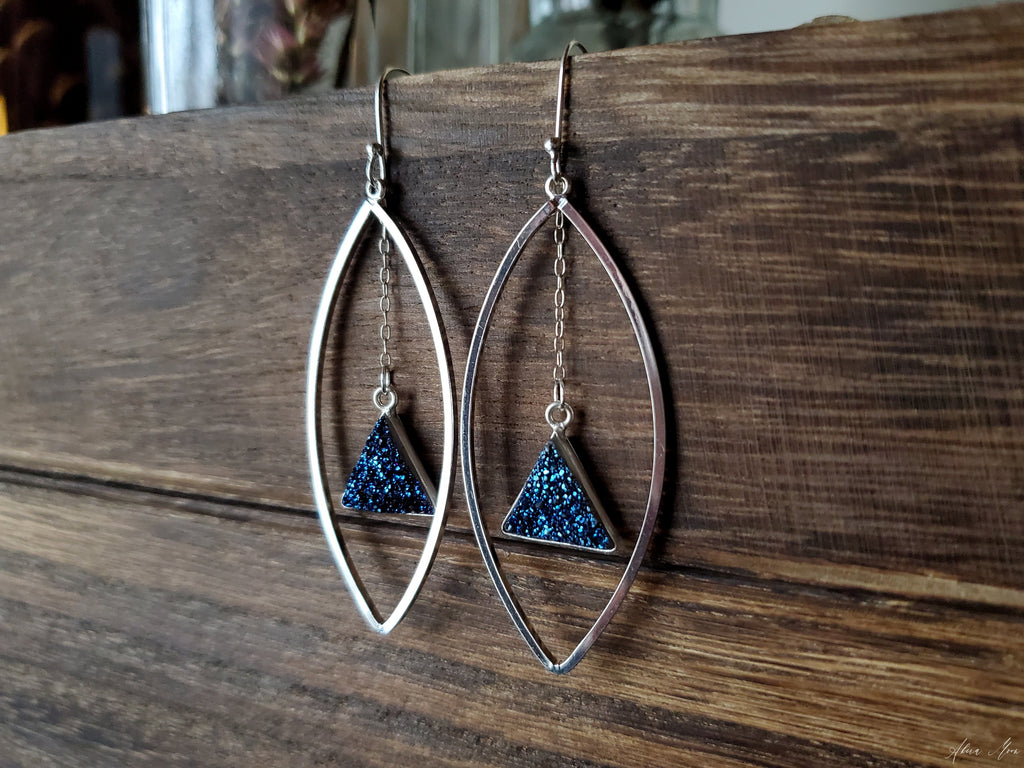 Blue Druzy In Marquise Earrings