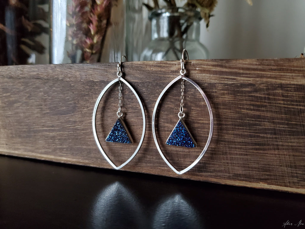 Blue Druzy Statement Earrings