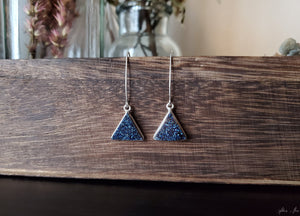 Blue Druzy Triangle Earrings