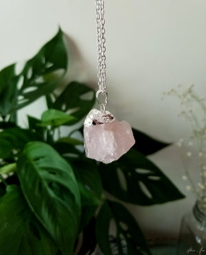 Chunky rose quartz pendant with silver plated top and 24 inch silver plated chain