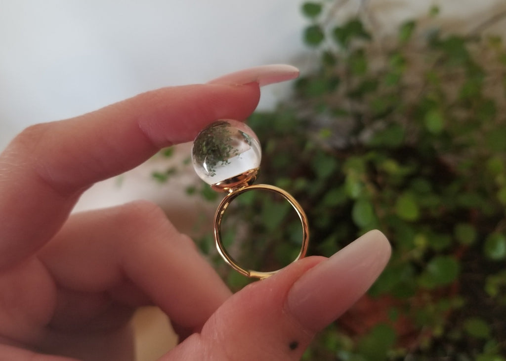 Crystal Ball Ring - Gold Band