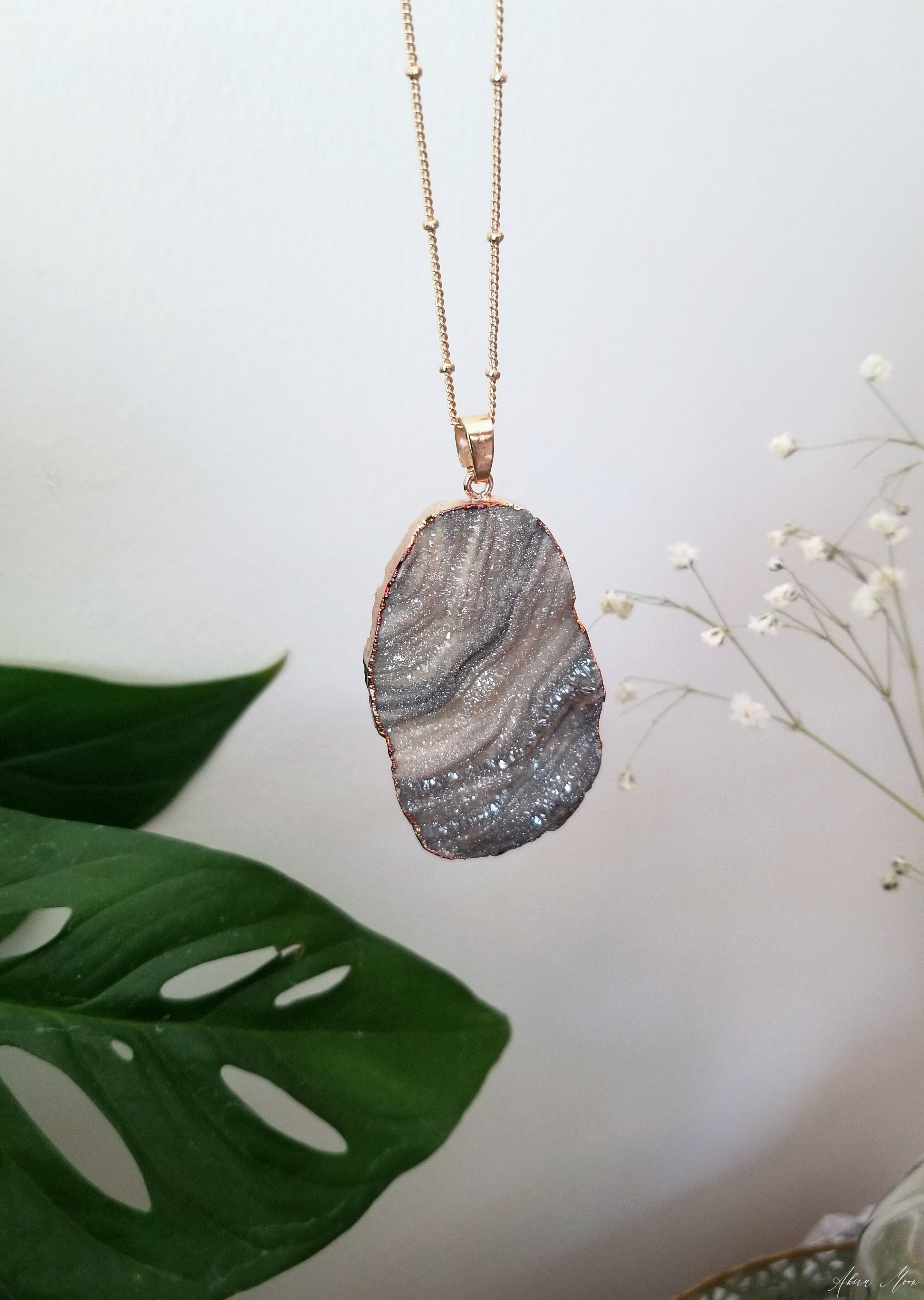 Druzy chalcedony pendant with gold plated satellite style chain