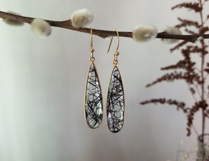 Faceted tourmalated quartz teardrop earrings with 18k gold ear wires