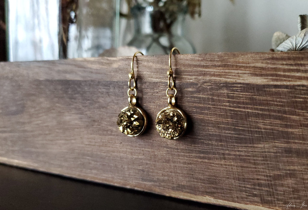 Gold Druzy Quartz Earrings