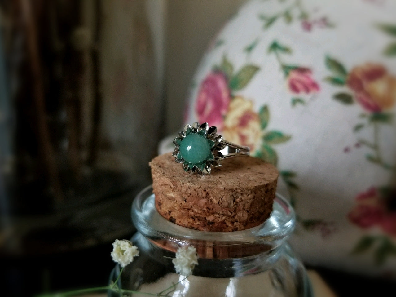 Green Aventurine Flower Ring
