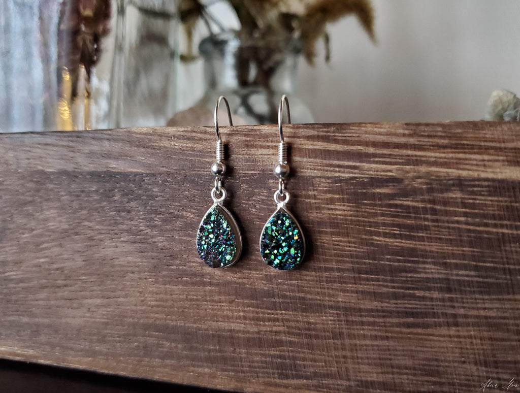 Green Druzy Teardrop Earrings