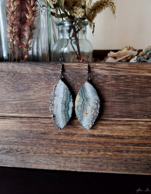Gunmetal Amethyst Slab Earrings