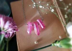 Three hot pink aura quartz points on oxidized silver chain