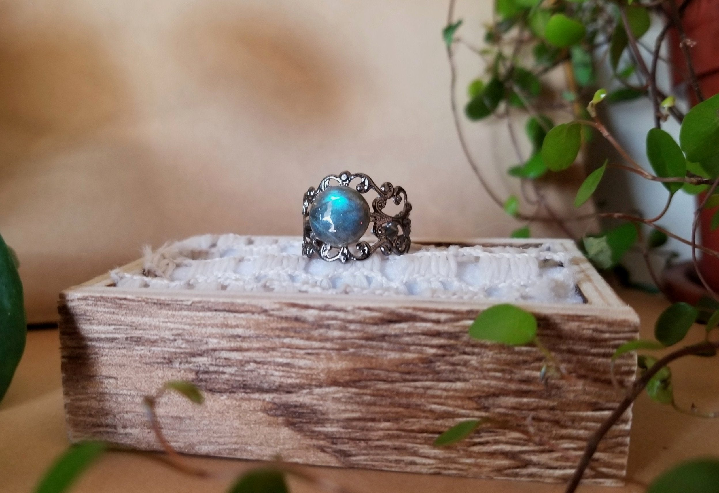 Labradorite Filigree Ring