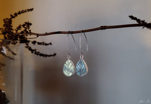 Labradorite Leaf Drop Earrings