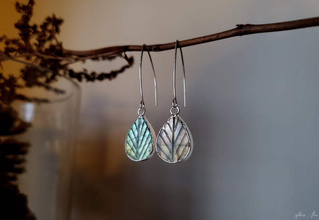 Labradorite Leaf Earrings