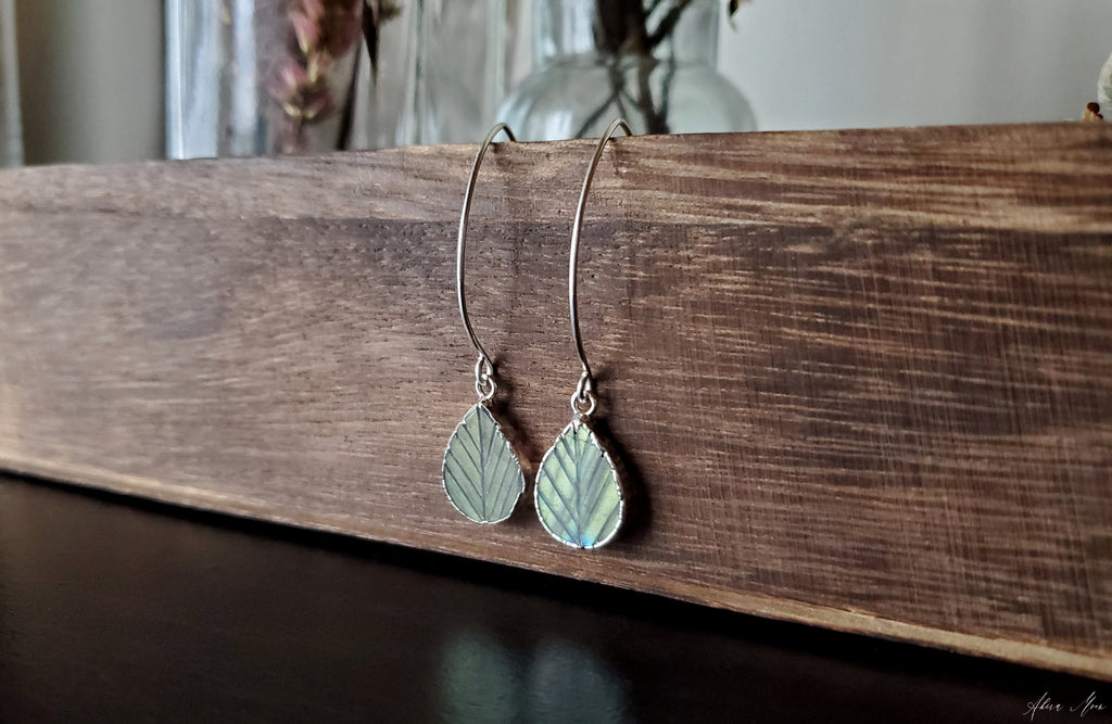 Labradorite Leaf Teardrop Earrings