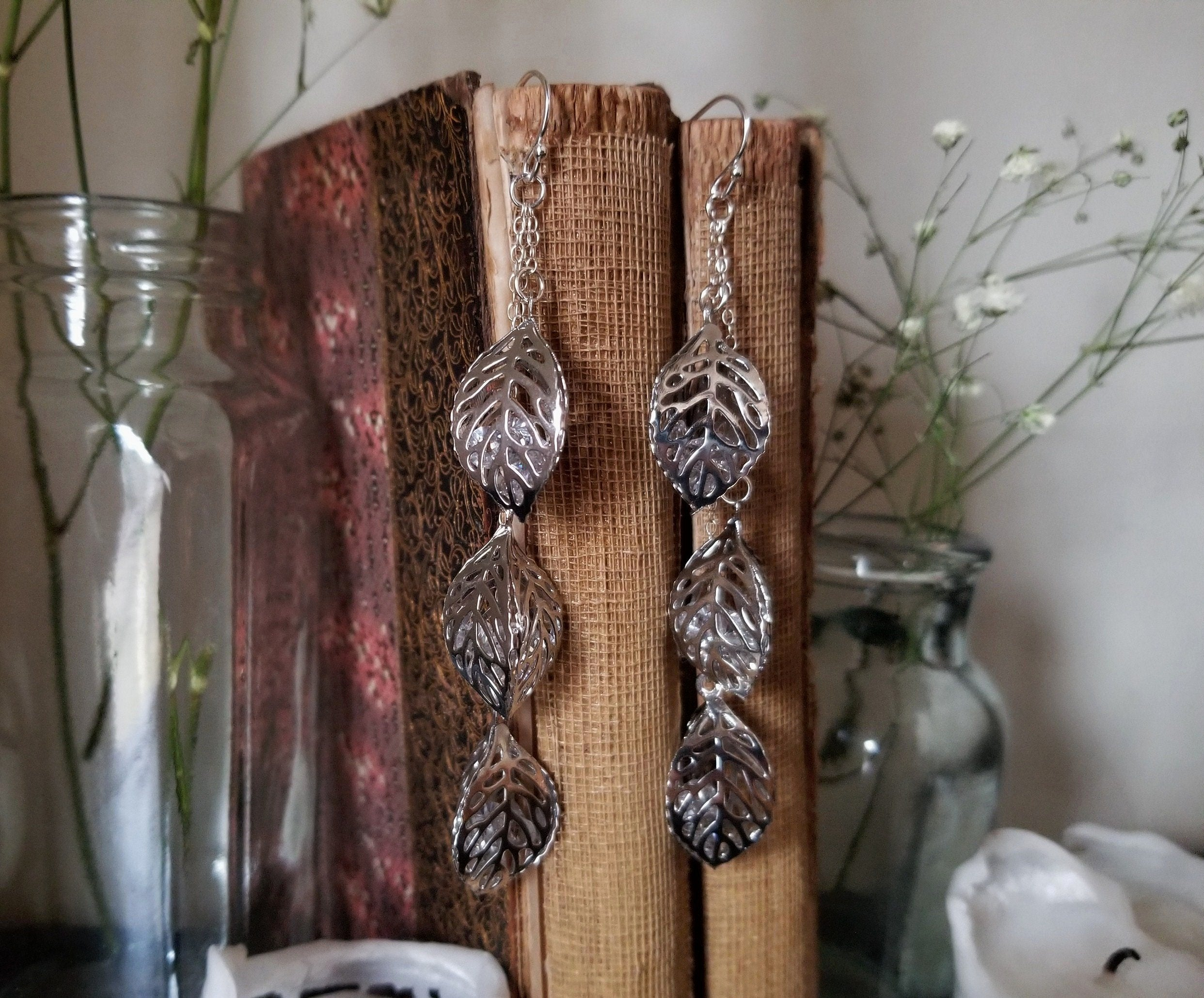 Leaf Trio Dangle Earrings