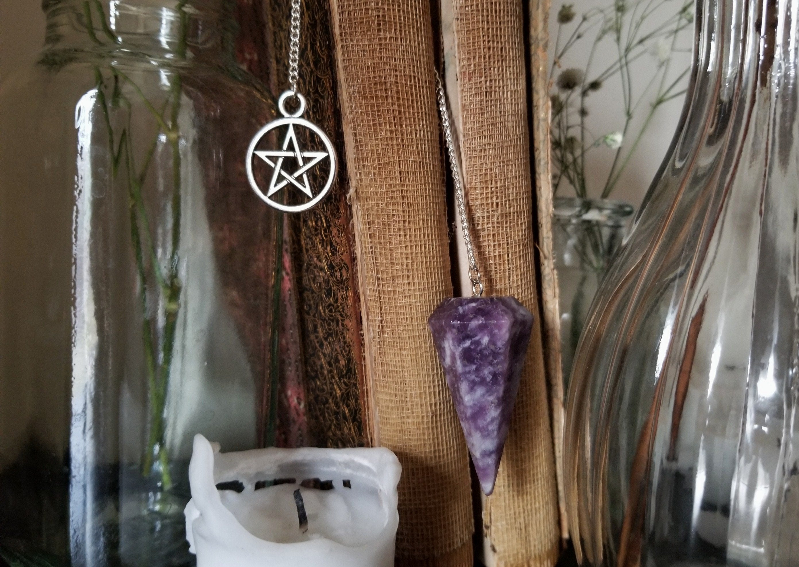 Lepidolite pendulum with six inch silver plated chain and pentagram charm