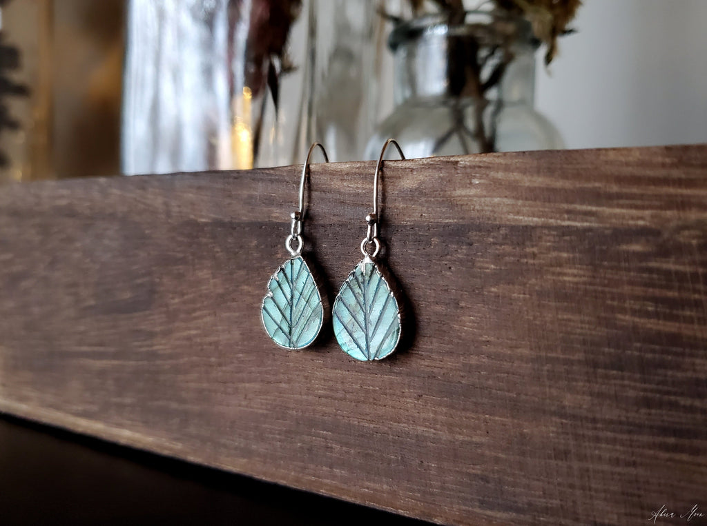 Natural Labradorite Leaf Earrings
