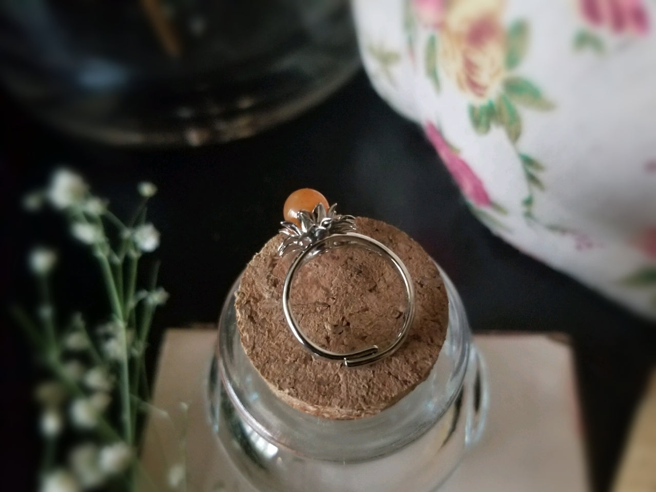 Orange Aventurine Flower Ring