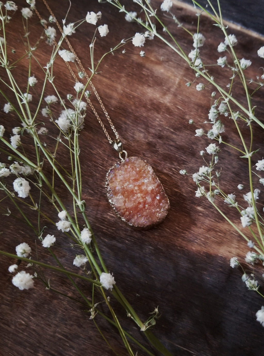 Peach aura druzy necklace with gold plated chain
