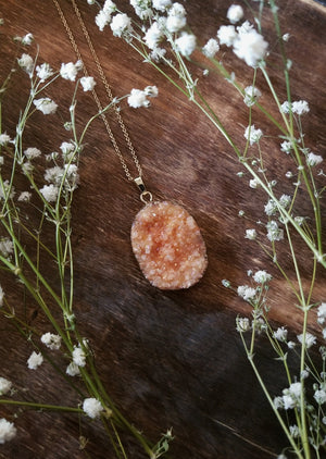 Peach druzy aura quartz necklace with gold plated chain
