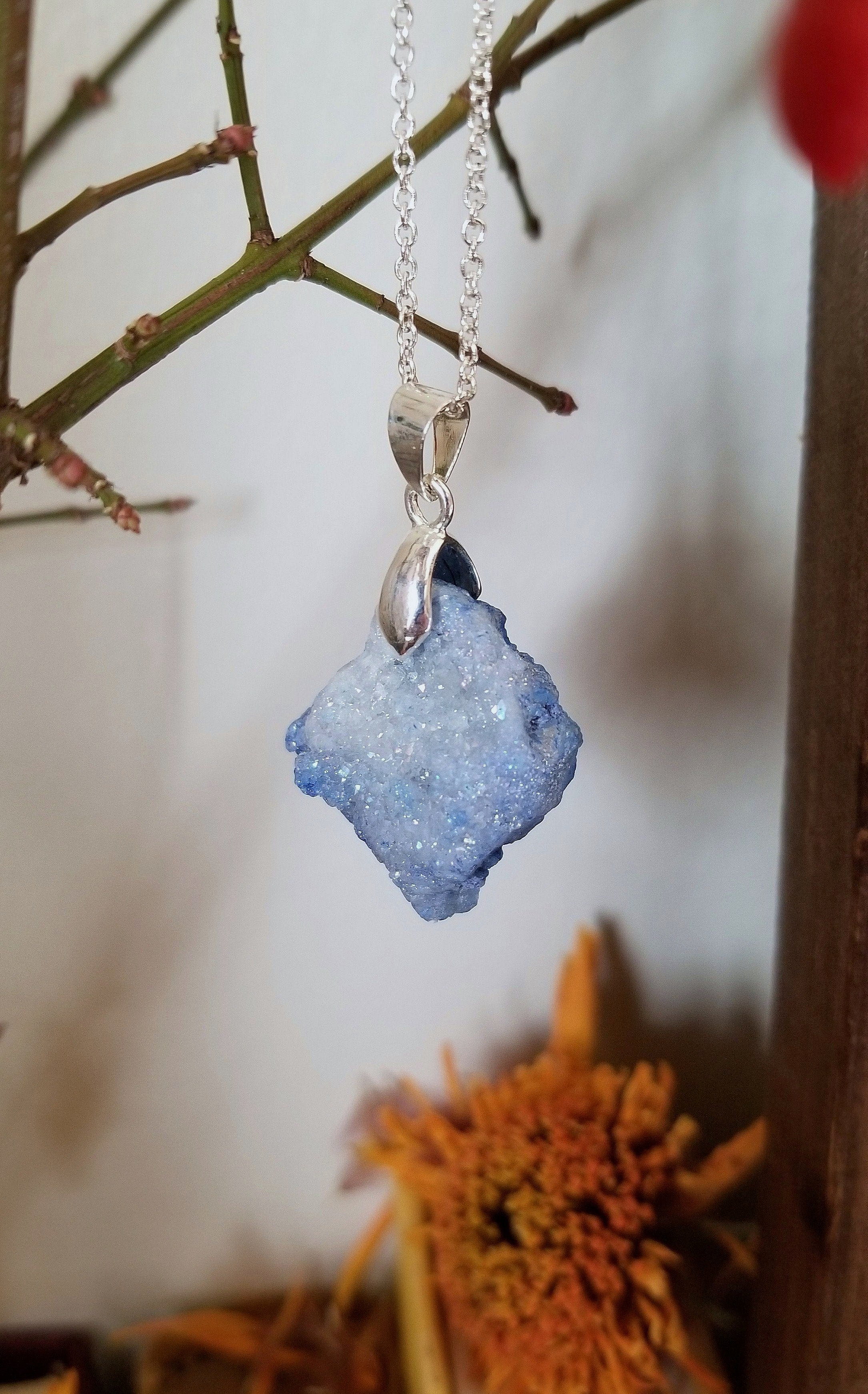 Periwinkle aura quartz pendant with silver plated bail and chain