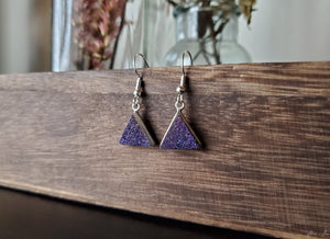 Purple Druzy Triangle Earrings