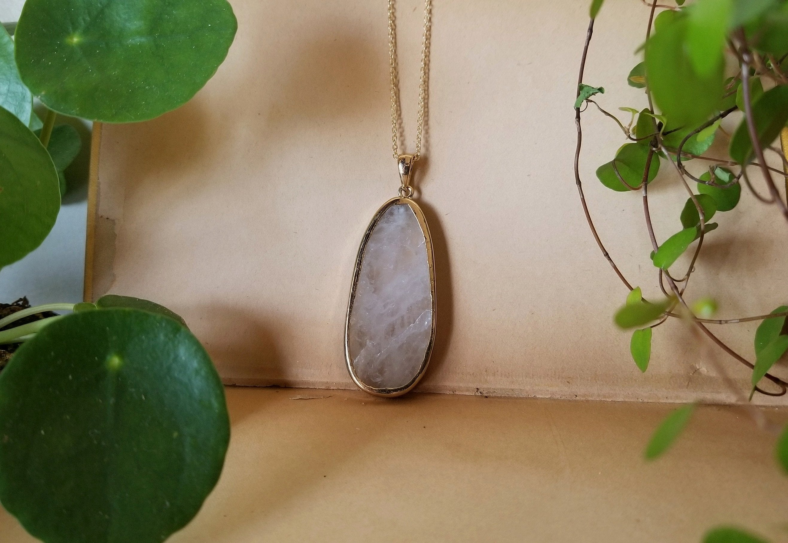 Clear Quartz Teardrop Necklace