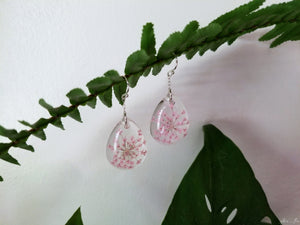 Pink queens lace resin earrings in sterling silver