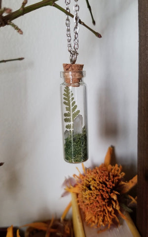Real fern pendant with two mini clesr quartz points and green reindeer moss in a glass vial