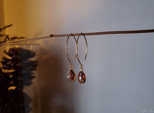 Red Copper Infused Quartz Earrings