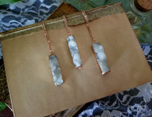 Rose gold white quartz bar necklace with 17 inch chain