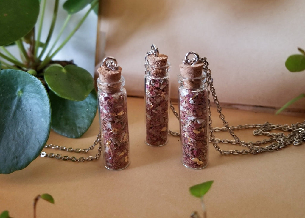 Rose And Sage Herbal Vial Necklace