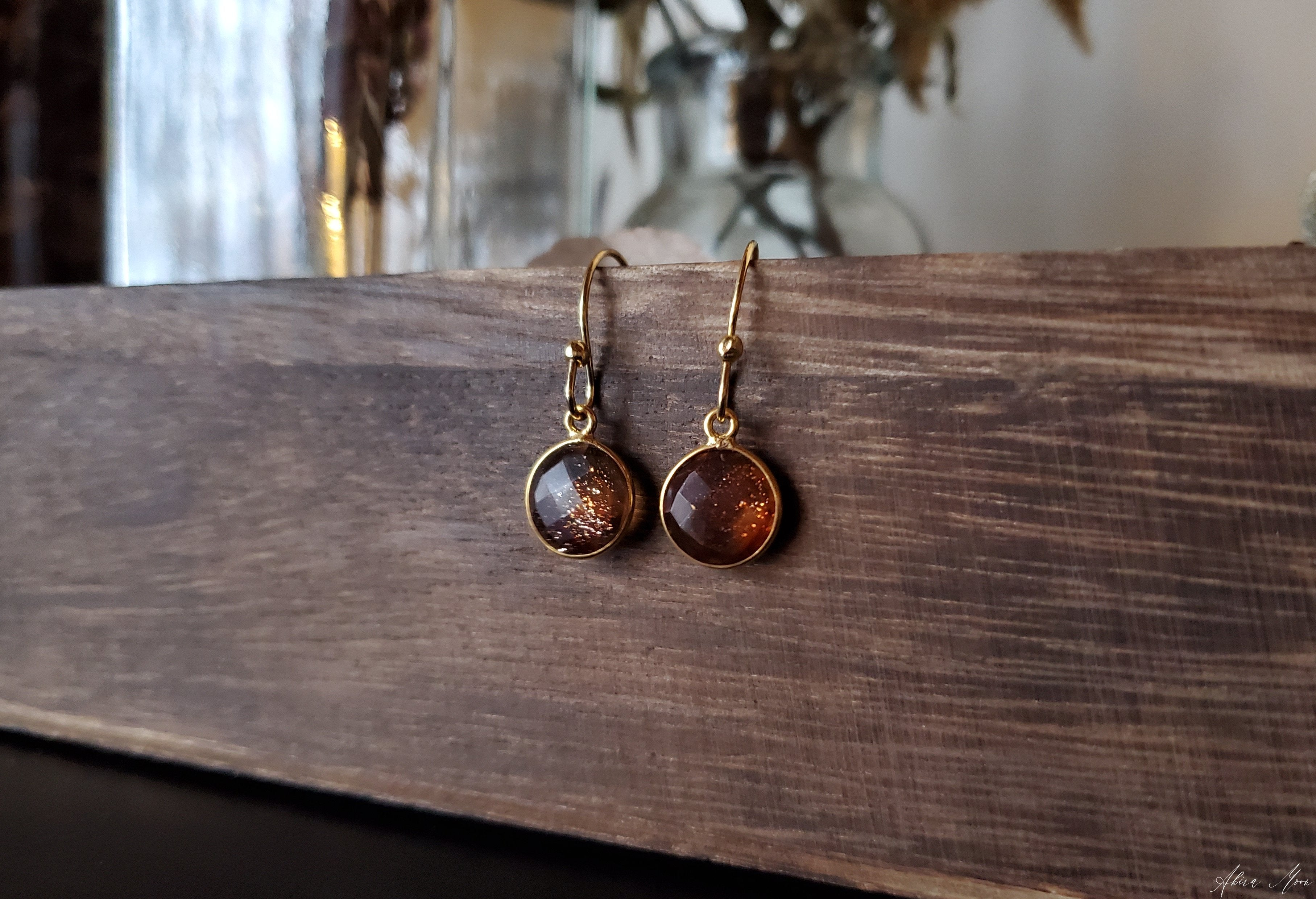 Round Copper Infused Quartz Earrings