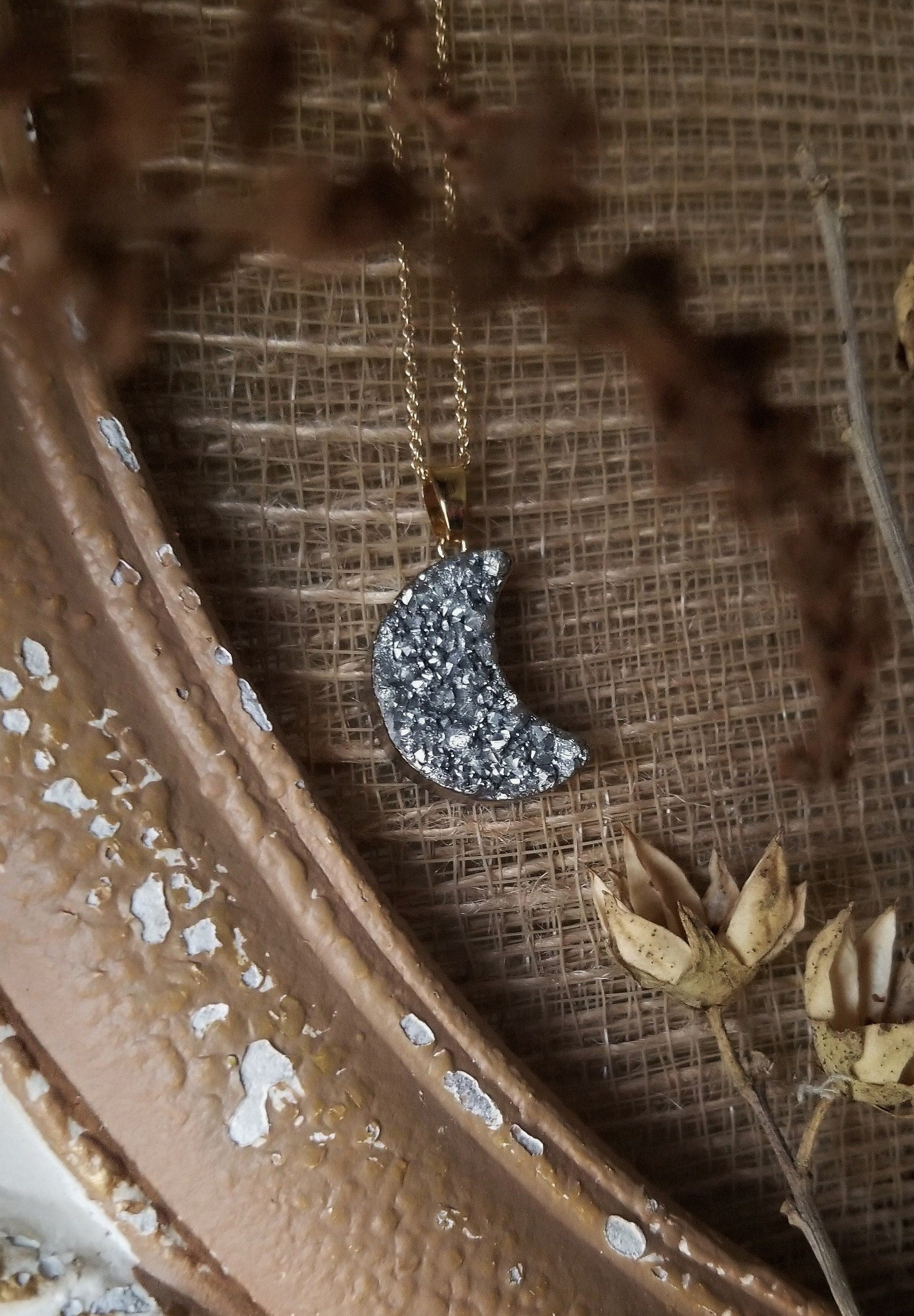 Silver druzy quartz moon necklace with gold plated chain