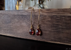 Striped Red Copper Infused Quartz Earrings