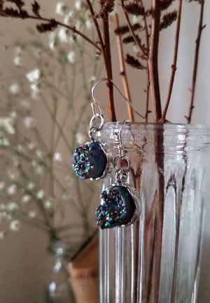Round titanium quartz earrings with silver plated base and sterling silver ear wires