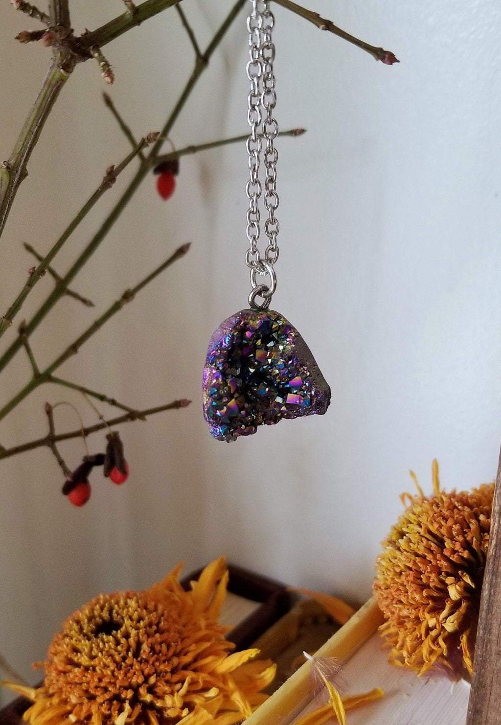Titanium quartz pendant on 19 inch rhodium plated chain