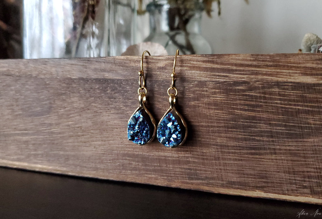 Titanium Quartz Druzy Teardrop Earrings