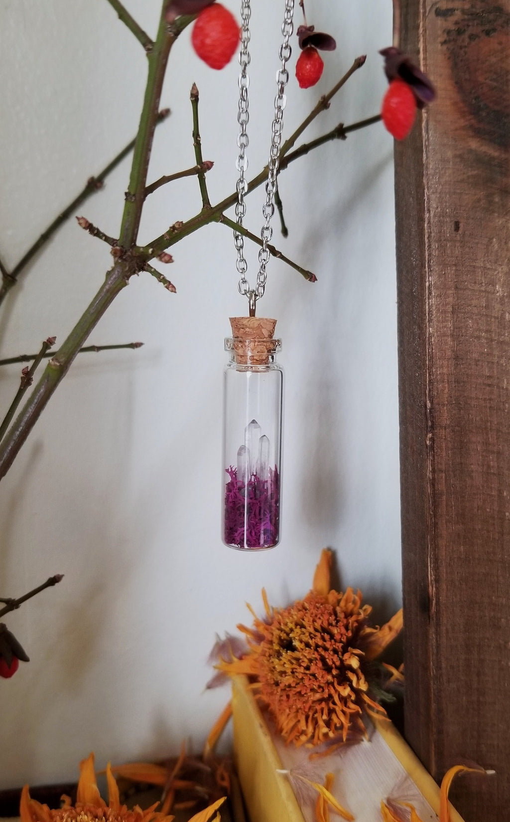 Glass vial necklace with purple moss three mini quartz crystal points and rhodium plated chain
