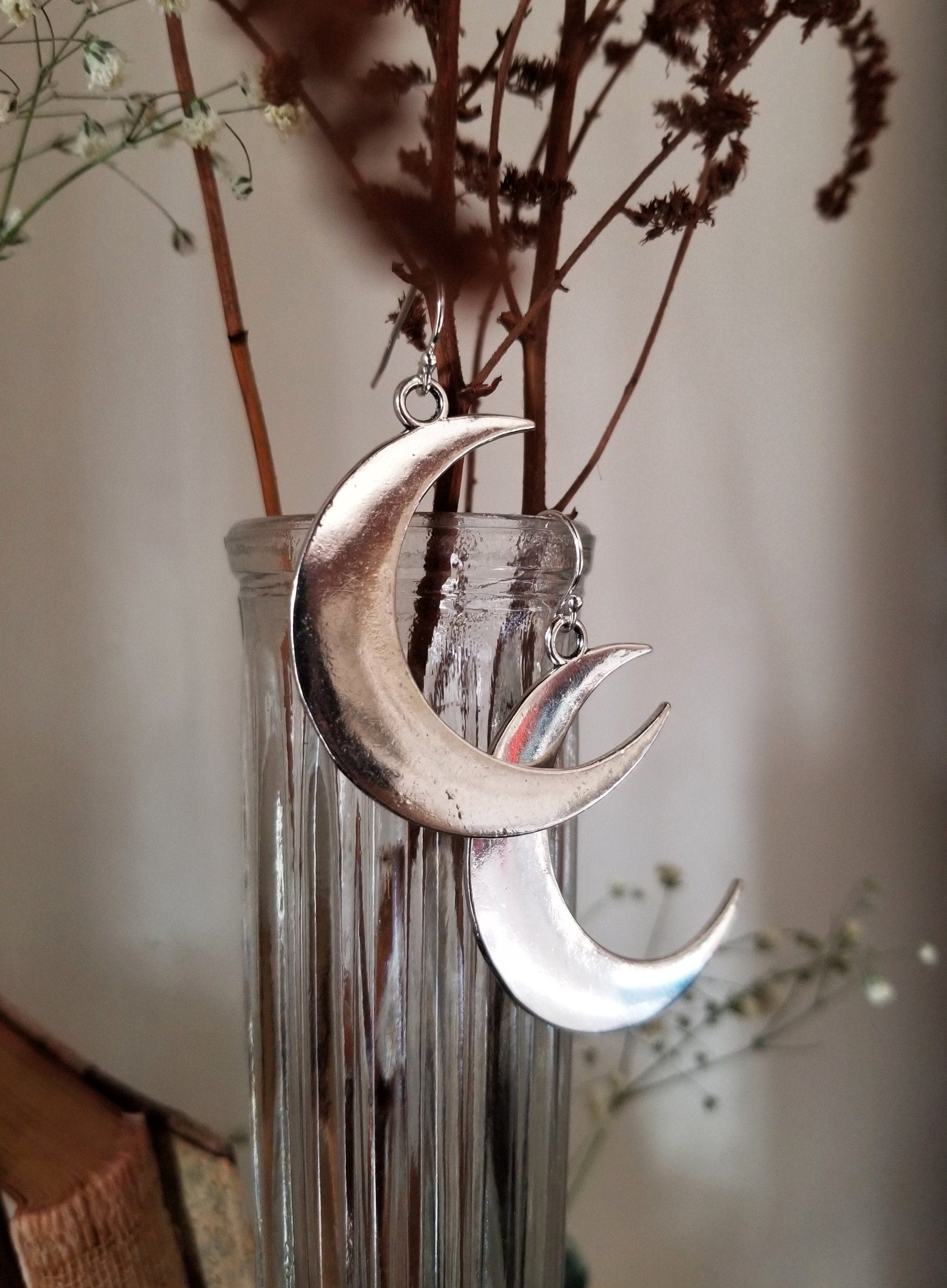 Large pewter waning crescent moon earrings with sterling silver ear wires