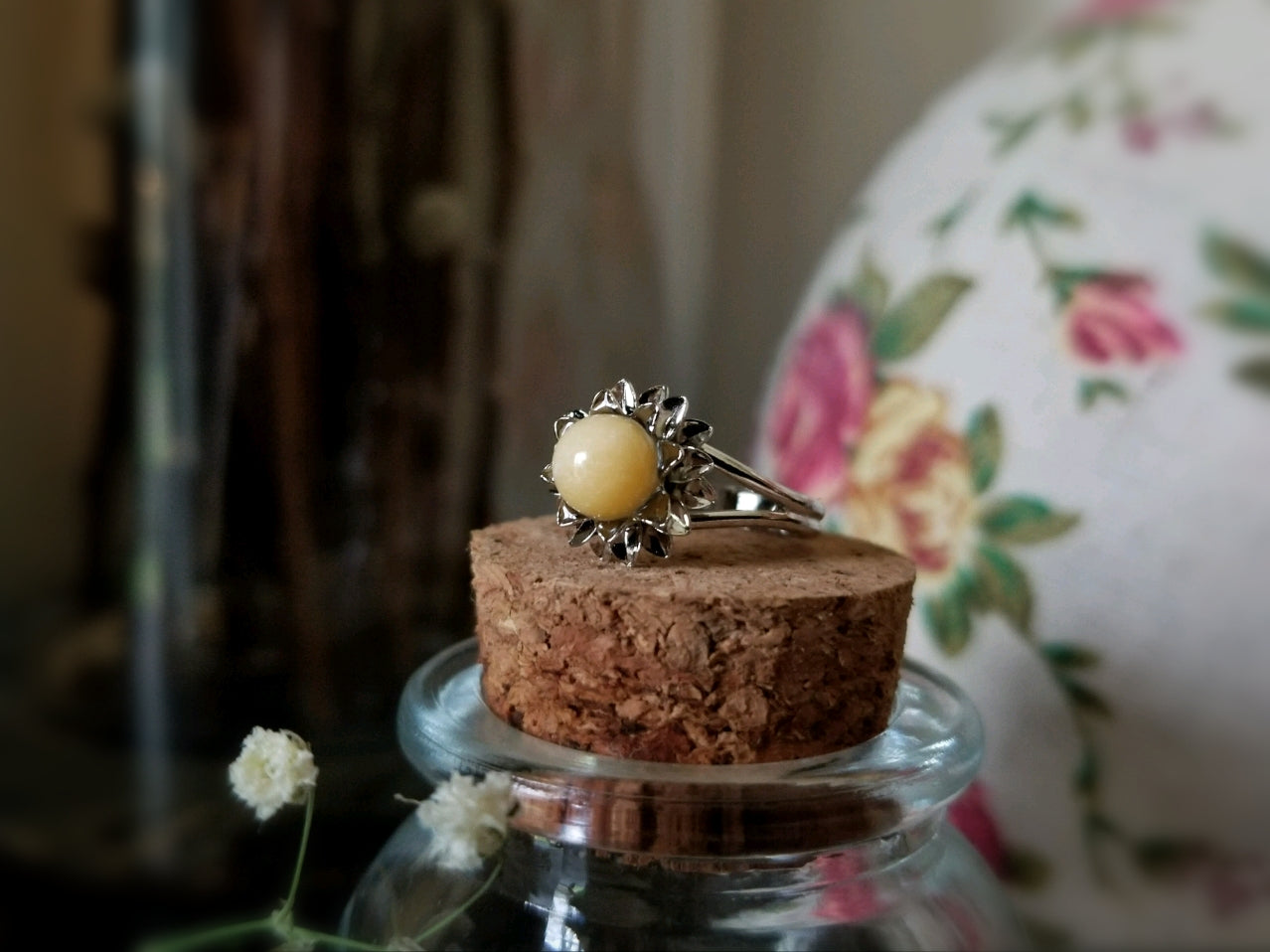 Yellow Jasper Flower Ring