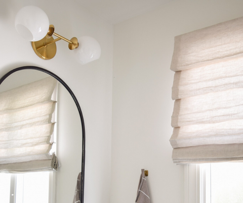 This Boho-Modern Bathroom Redo Shows How transformative Custom Roman Shades Can Be