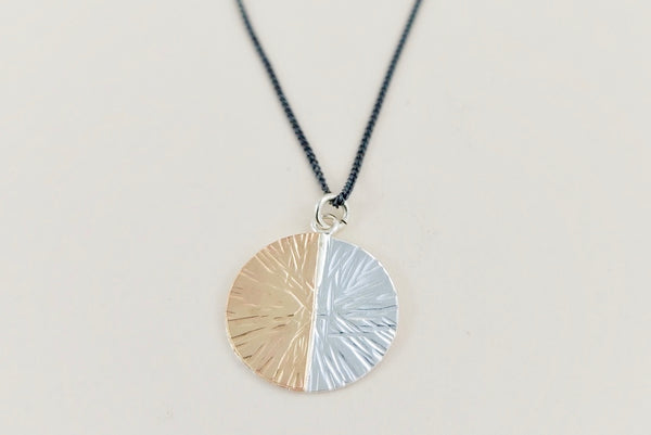 The duality large disc charm necklace