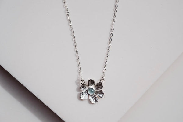 Flower 6 petal silver gemstone aquamarine