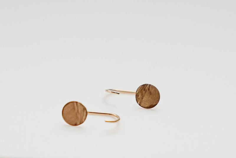 hugging hoop gold moon nature earrings