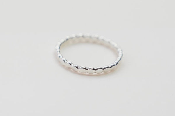 textured silver ball stacking rings