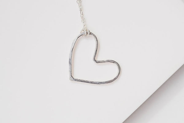 small heart textured pendant silver necklace